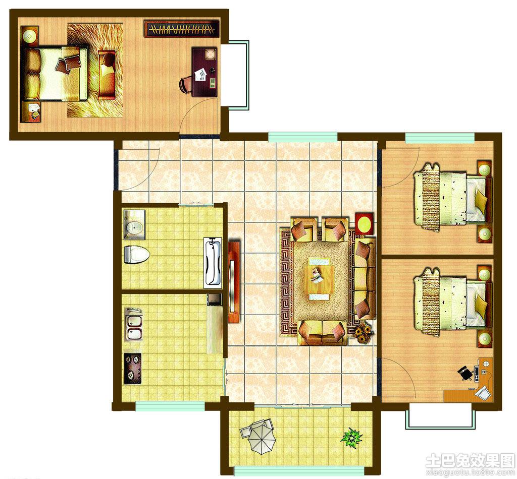 三居室楼房平面图装修效果图