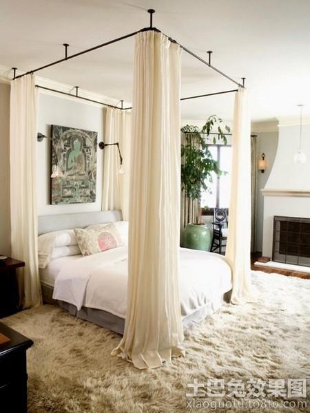 美式别墅大卧室床帘效果图