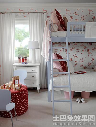 欧式风格双人儿童房上下铺效果图装修效果图