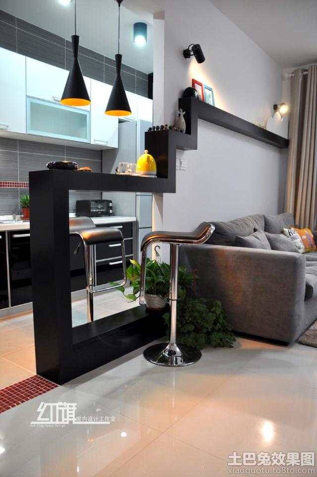 客厅与厨房吧台隔断设计装修效果图 第1张 家居图库 九正家居网图片