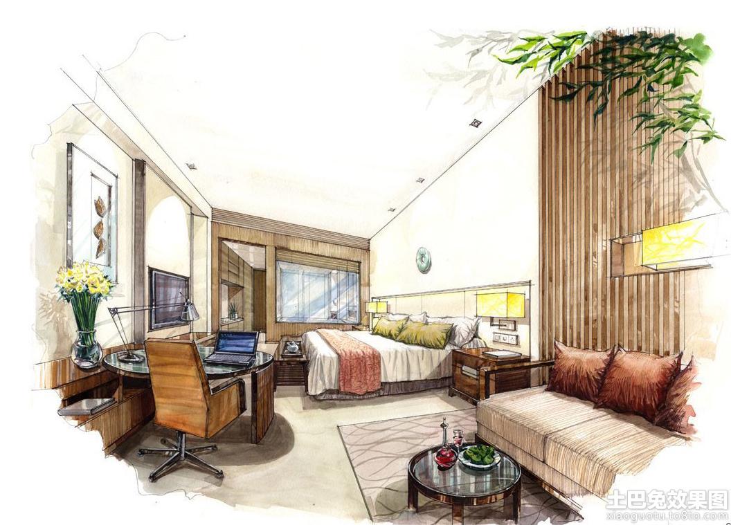 卧室室内手绘效果图装修效果图