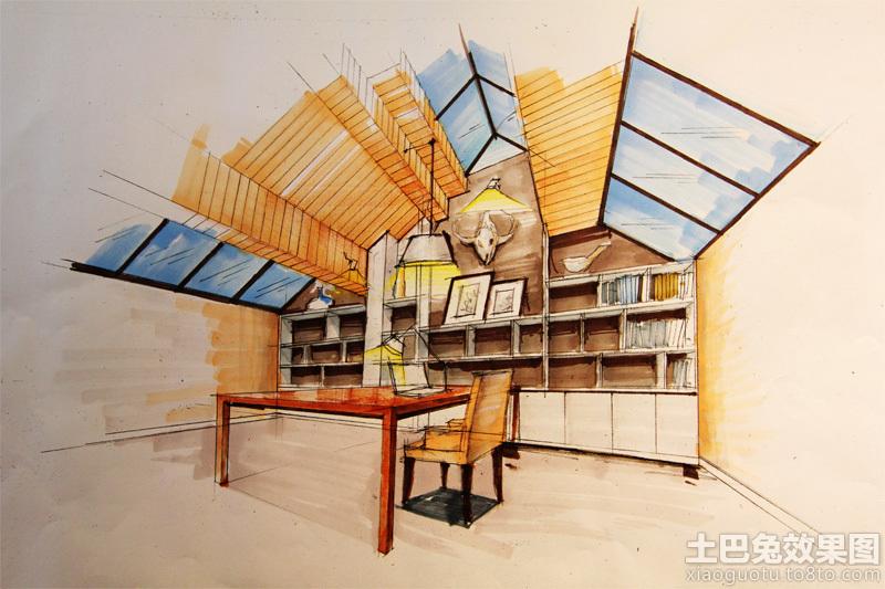 书房手绘效果图