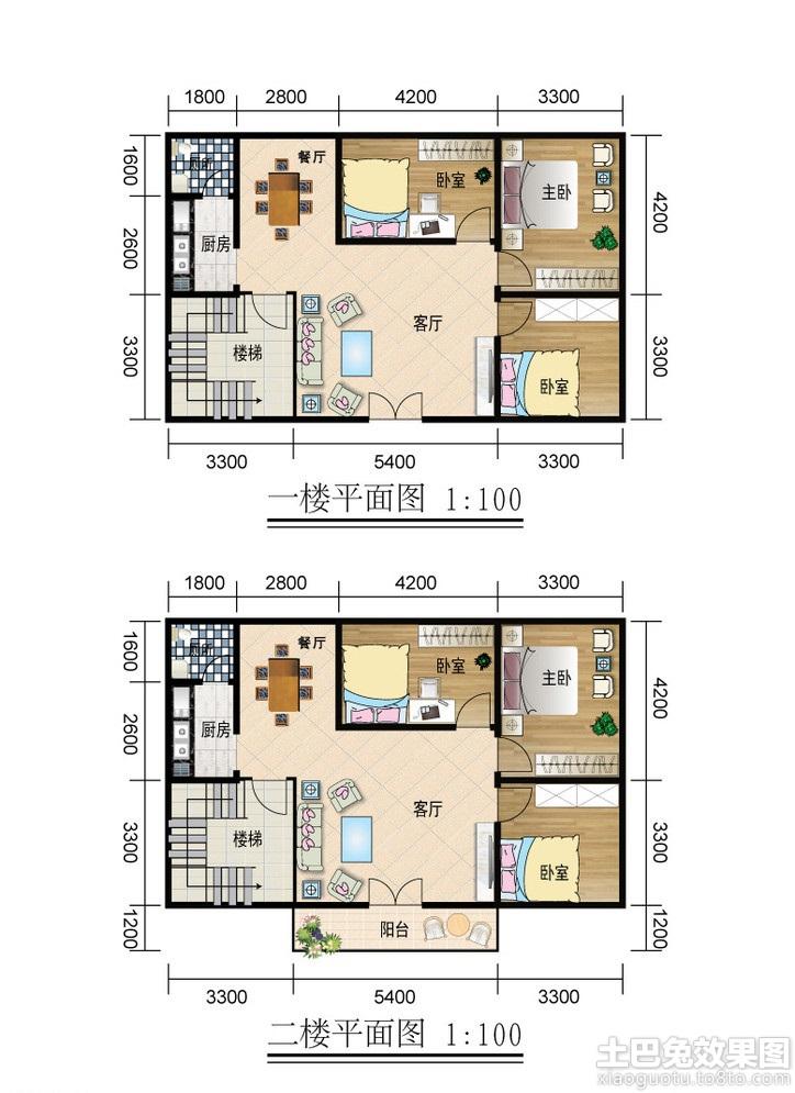 二层农村房屋设计平面图装修效果图 第1张 家居图库 九正家居网