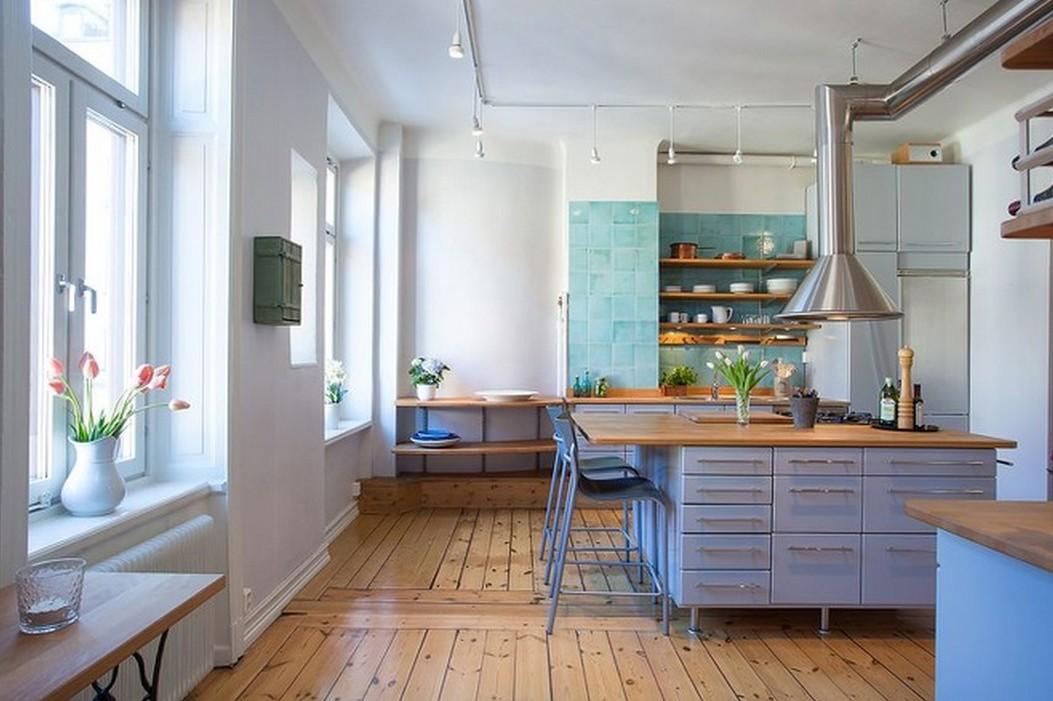 北欧风格开放式厨房木地板装修效果图 (7/10)图片