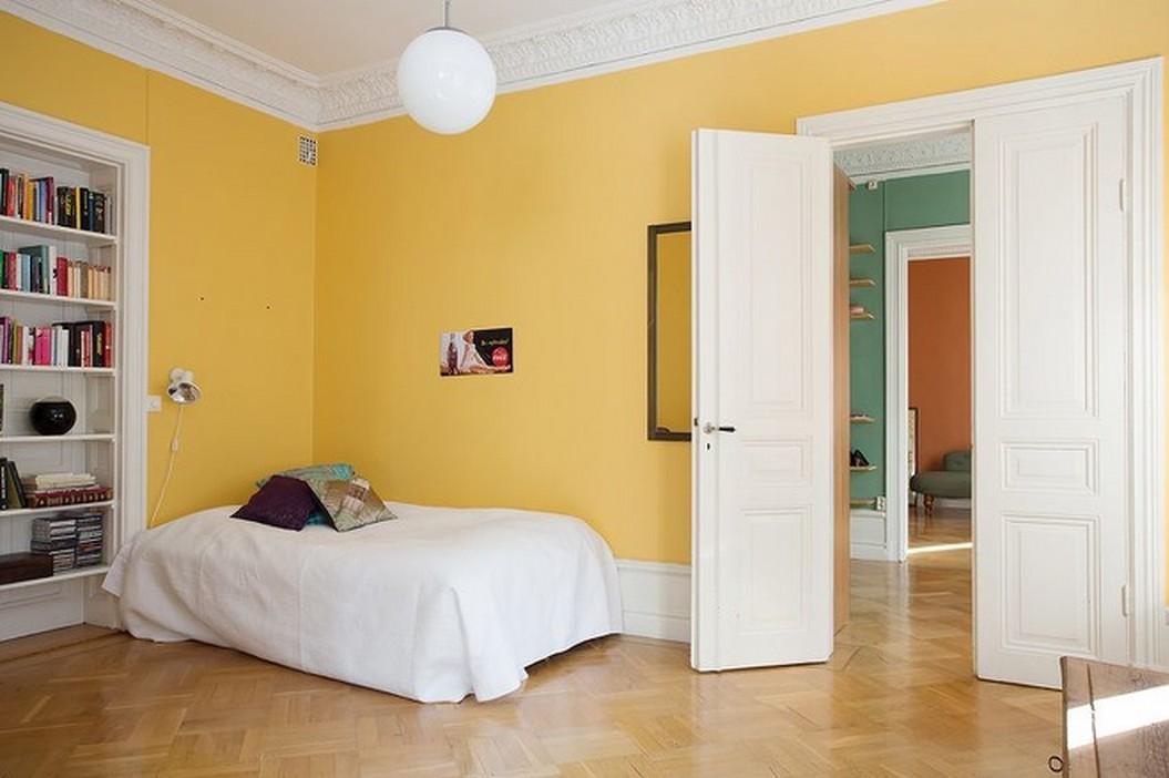 北欧风格卧室黄色墙面效果图 (6/10)图片