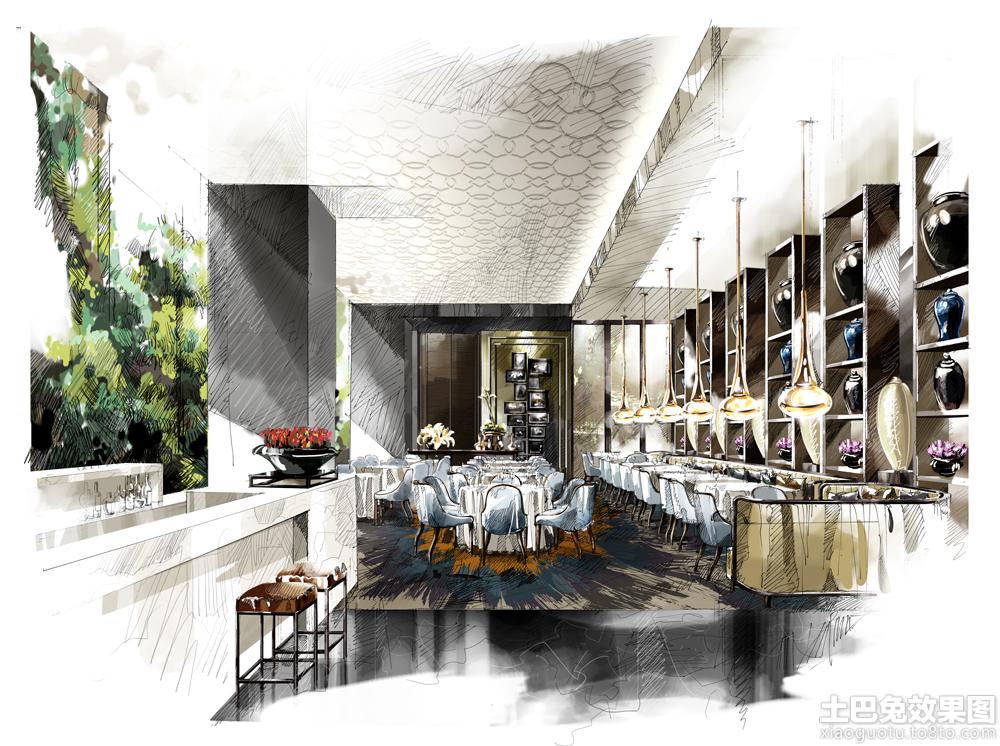 大型餐厅手绘效果图装修效果图