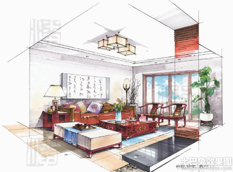 中式客厅手绘效果图欣赏装修效果图