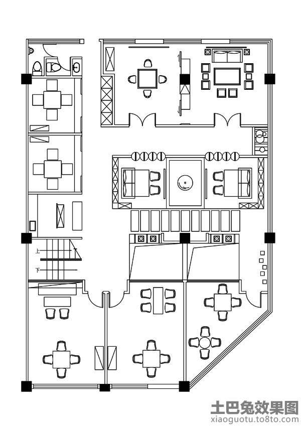 茶室平面图装修效果图 第1张 家居图库 九正家居网