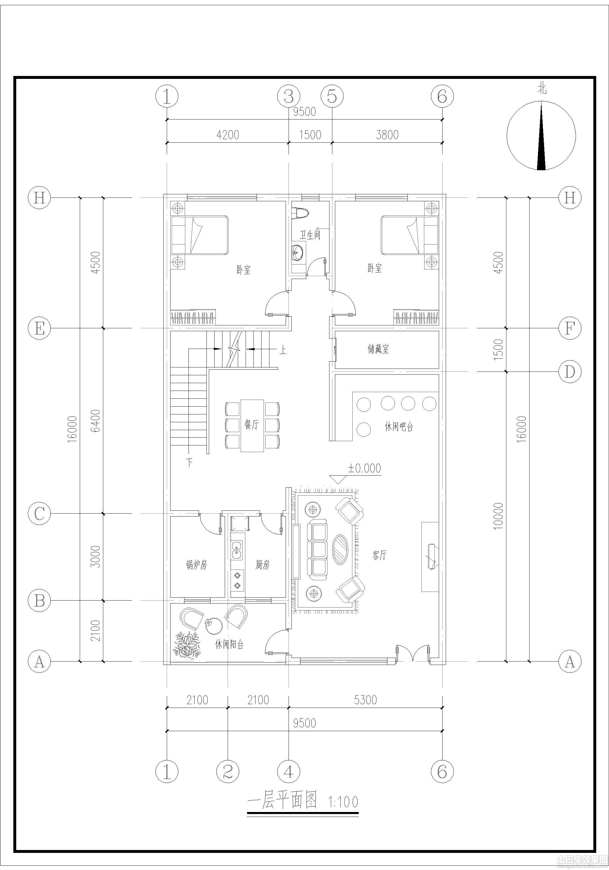 鄉村別墅一層設計圖裝修效果圖