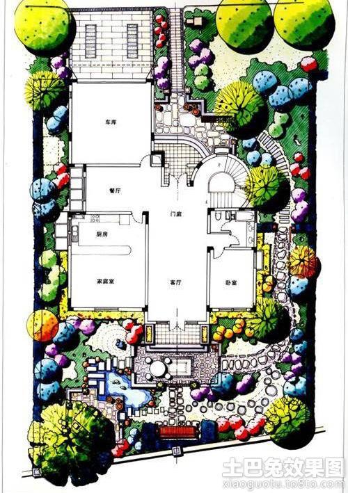 大型别墅景观平面图装修效果图