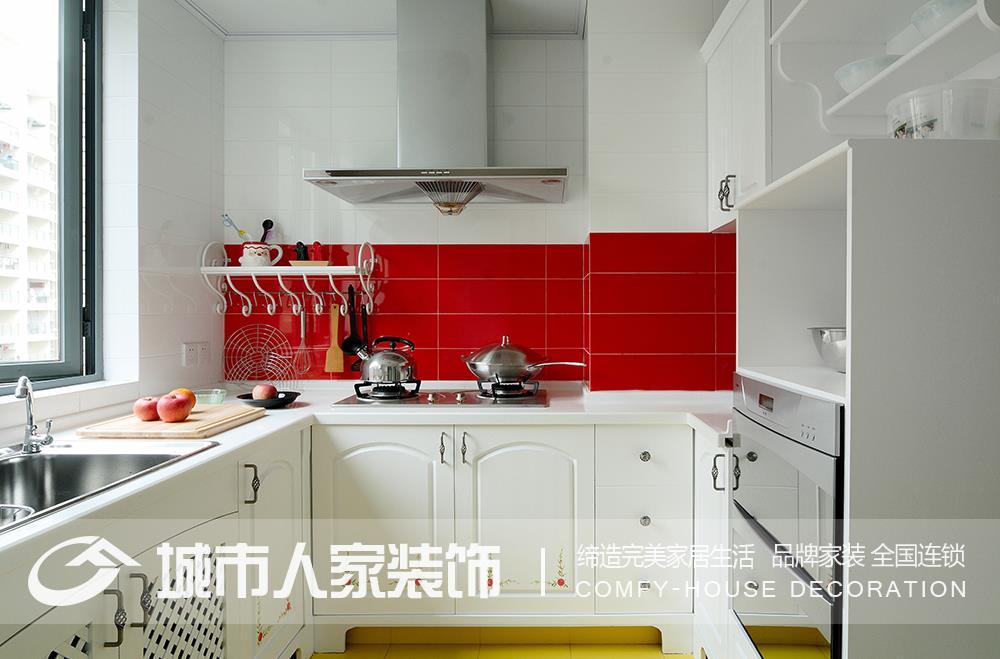 欧式风格红色墙面厨房装修效果图装修效果图