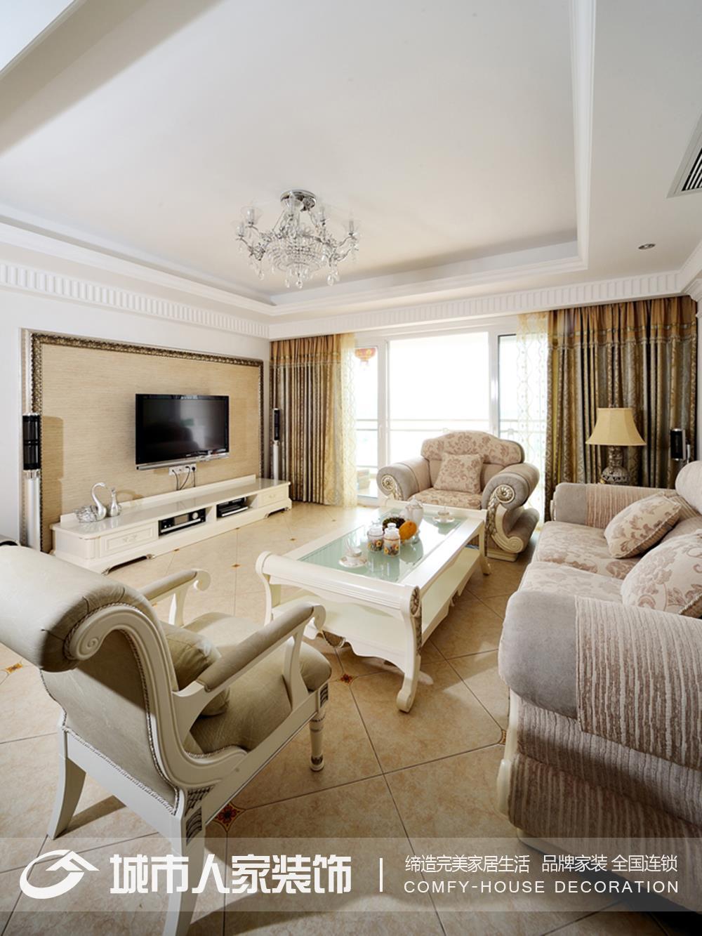 简欧式风格100平米二居室客厅装修效果图装修效果图