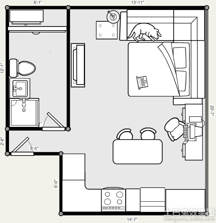 单身公寓设计平面图大全装修效果图