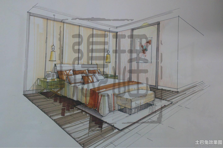 卧室设计手绘效果图装修效果图