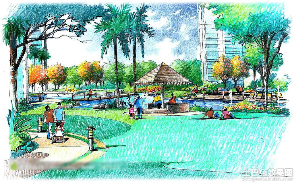 公园景观手绘效果图欣赏装修效果图