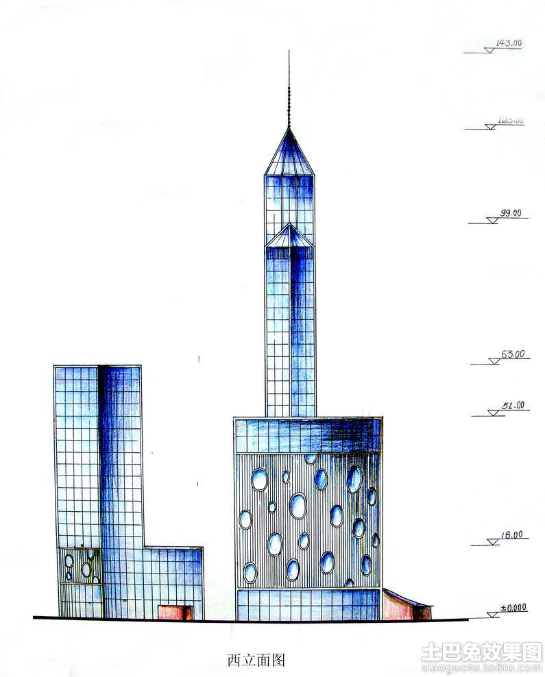 手绘建筑立面图装修效果图
