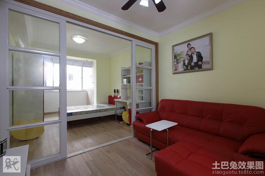一居室客厅卧室推拉门隔断效果图装修效果图