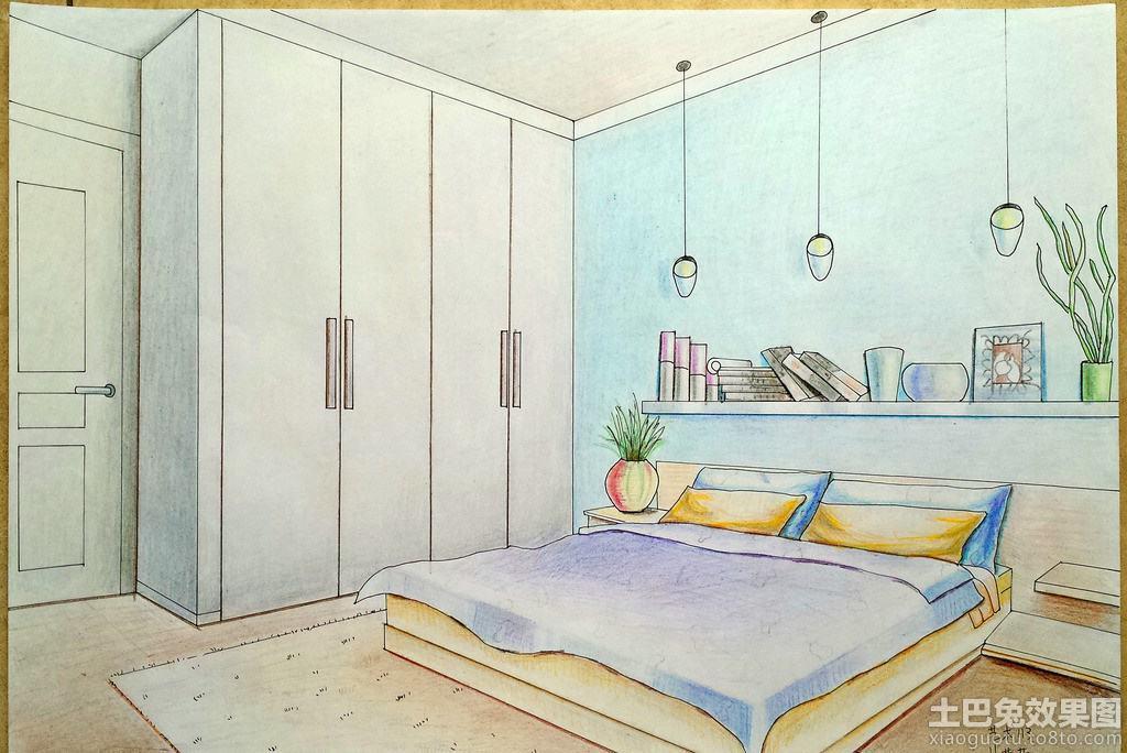 简单卧室手绘效果图装修效果图