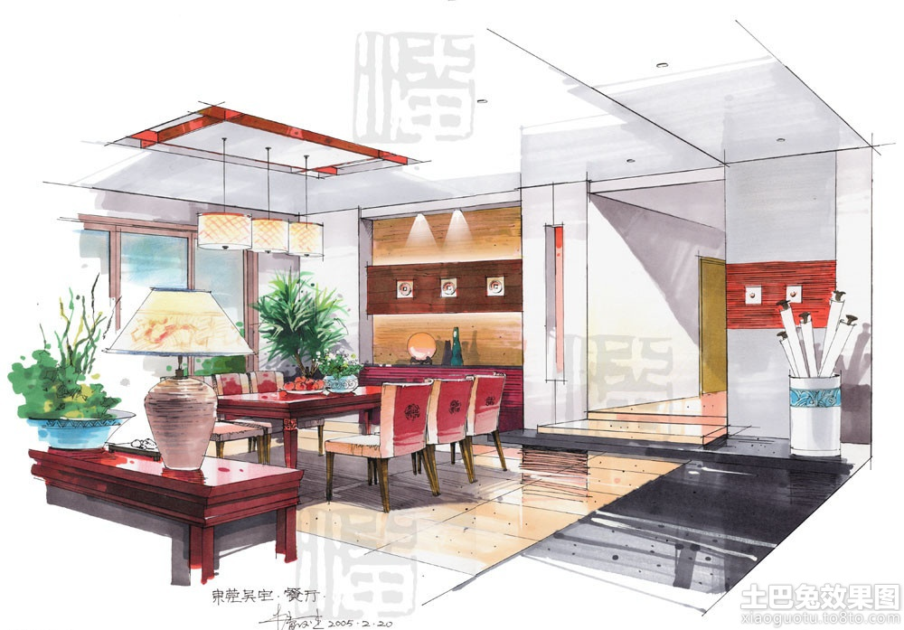 家庭餐厅设计手绘效果图装修效果图_第3张 - 家居图库