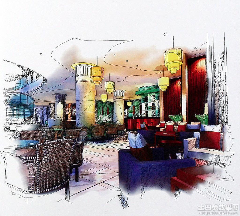 餐厅设计手绘效果图装修效果图
