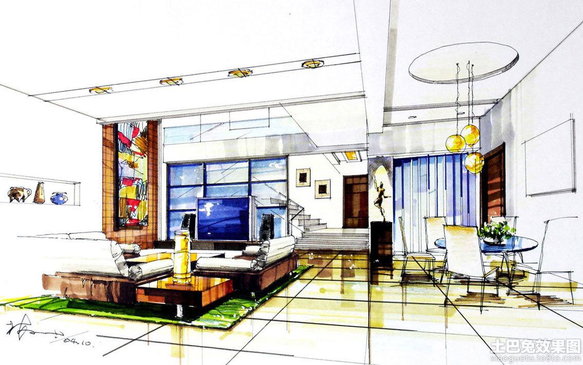 别墅室内设计手绘效果图装修效果图