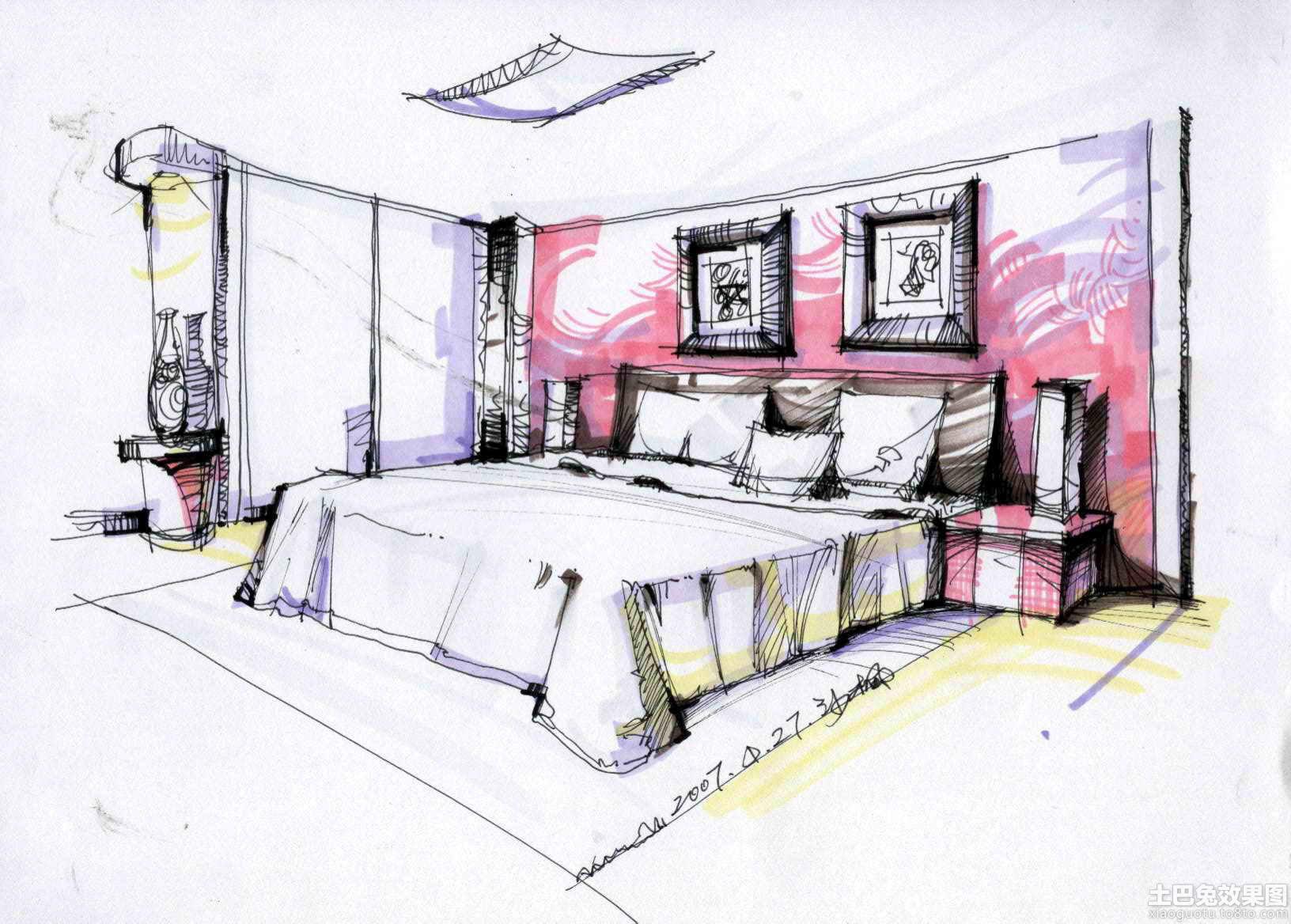 卧室手绘效果图线稿装修效果图