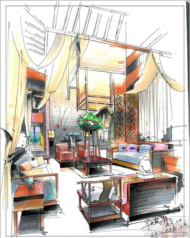 中式别墅室内手绘效果图#装修效果图
