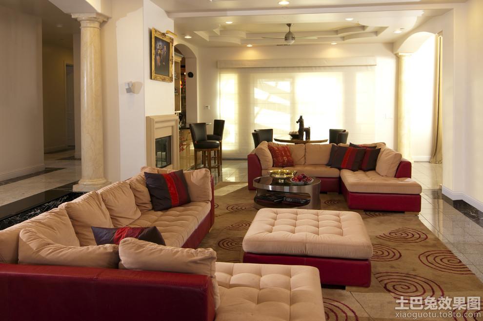 现代欧式别墅客厅沙发效果图装修效果图