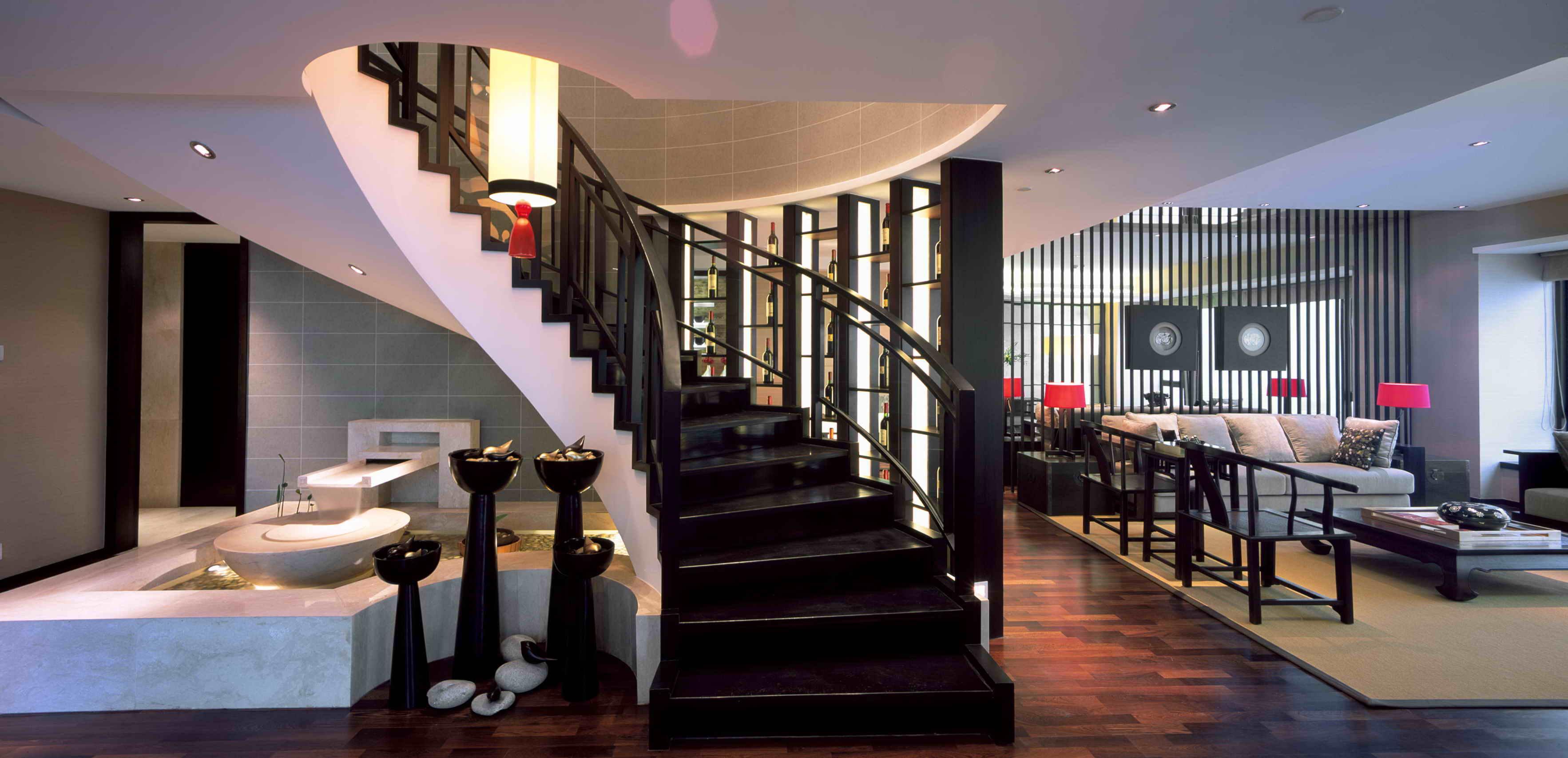 中式现代别墅楼梯装修效果图装修效果图
