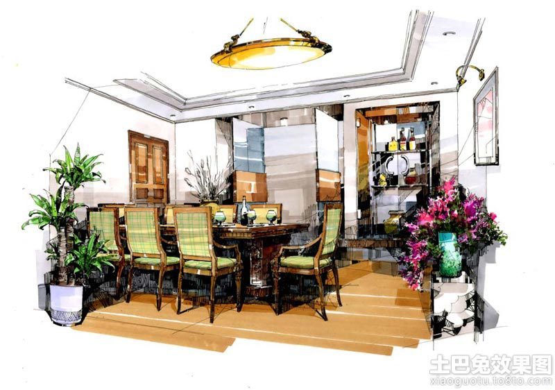 室内设计马克笔手绘效果图装修效果图