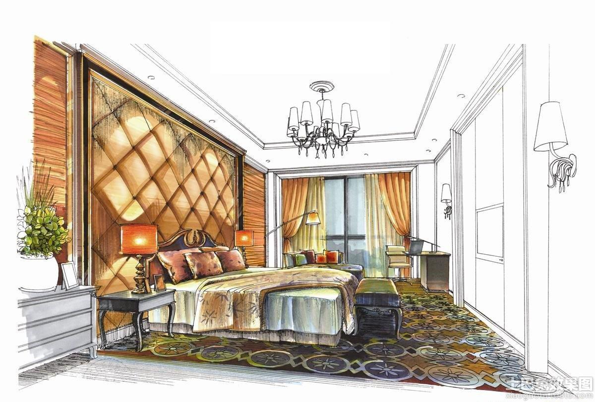 卧室室内马克笔手绘效果图装修效果图_第3张 - 家居