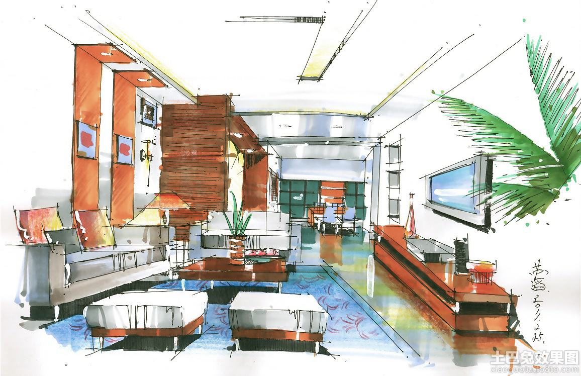 室内客厅马克笔手绘图马克笔手绘客厅室内图片1
