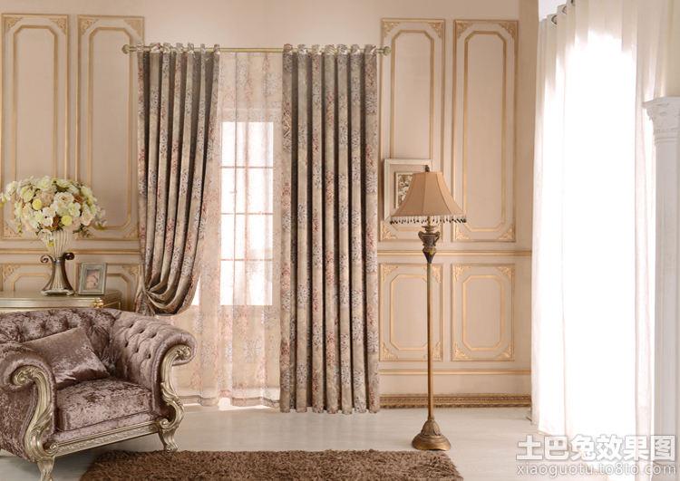 欧式罗马杆印花窗帘装修效果图