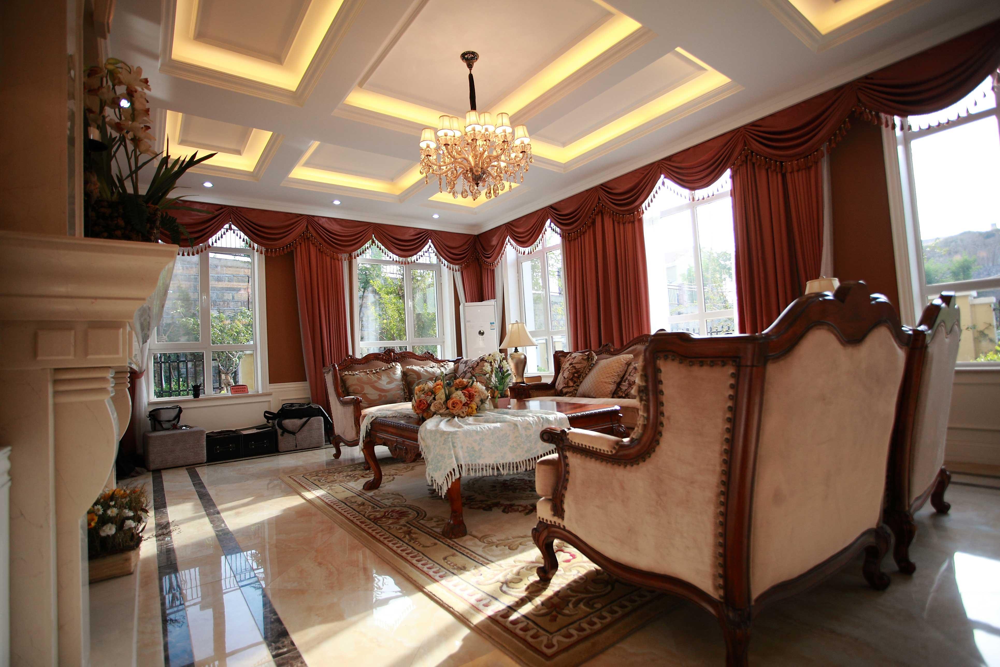 古典欧式风格别墅客厅吊顶效果图装修效果图_第3张