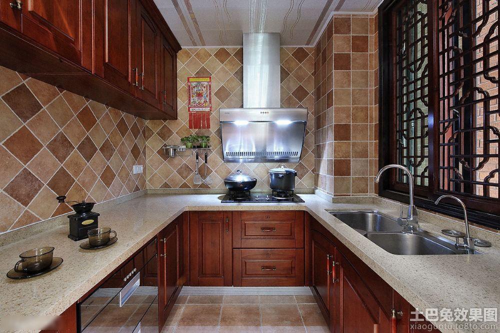 u型厨房大理石橱柜台面效果图 (1/5)图片