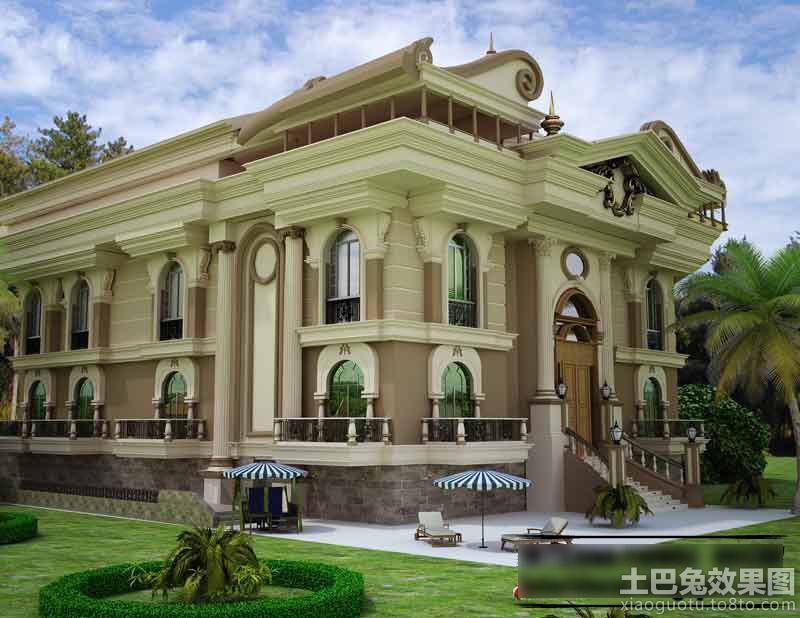 豪华欧式别墅外观设计效果图装修效果图