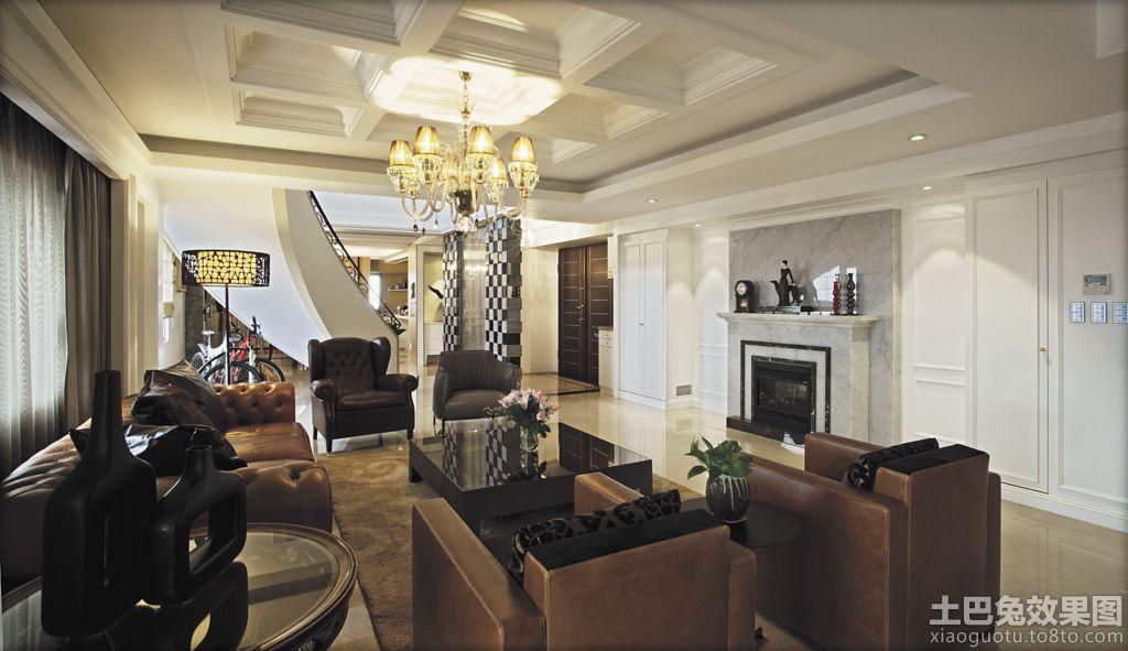 现代欧式别墅客厅吊顶装修效果图 (1/11)图片