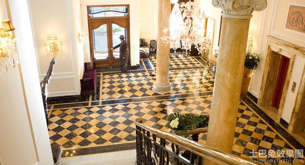 别墅大厅欧式罗马柱效果图装修效果图