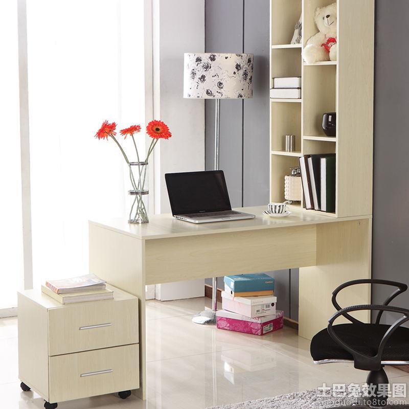 简约书柜电脑桌组合效果图装修效果图