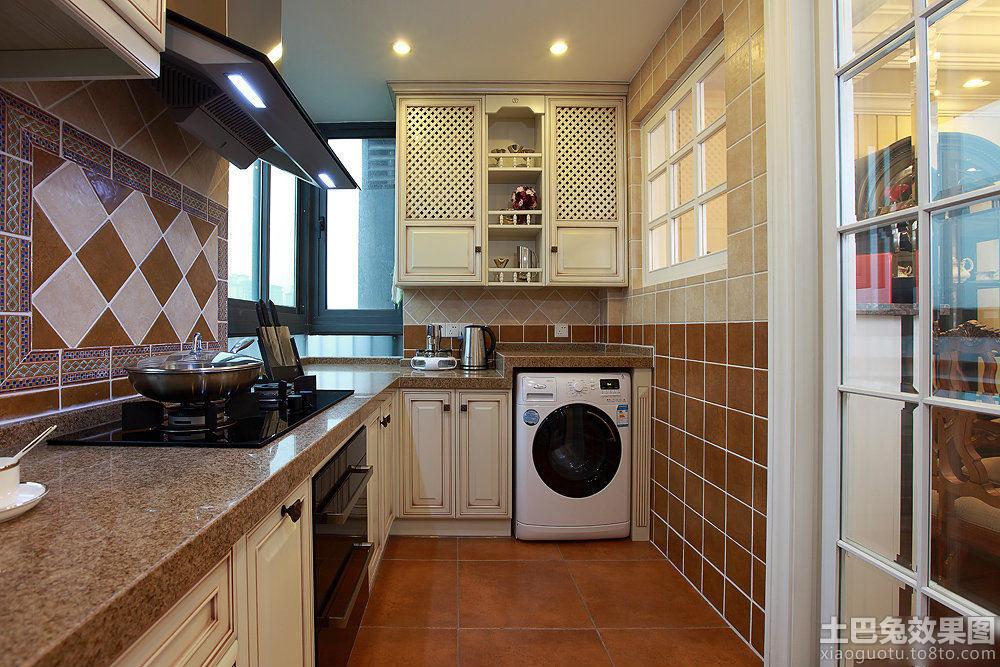 美式家居砖砌橱柜效果图高清图片