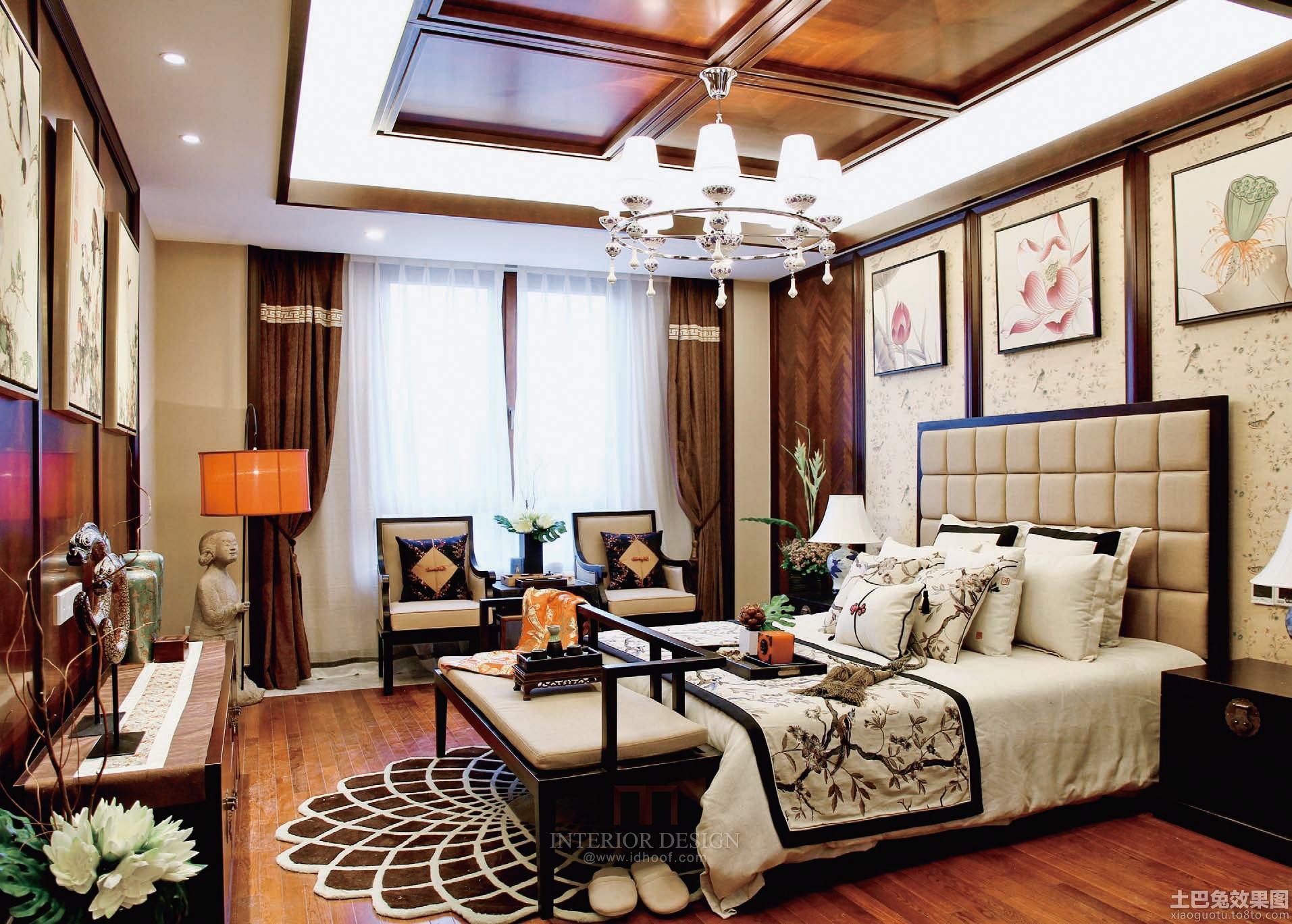 中式风格三室两厅卧室装修效果图欣赏大全2014图片 (7/7)图片