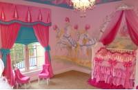 粉色儿童房背景墙装修效果图