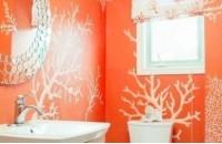 小卫生间橙色壁纸装修效果图大全