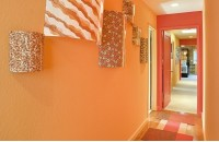 最新简约橙色过道玄关装修效果图大全