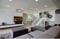 现代简约风格别墅客厅电视背景墙装修效果图