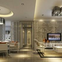 12万打造温馨浪漫现代风格二居客厅电视背景墙装修效果图3