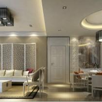 12万打造温馨浪漫现代风格二居客厅电视背景墙装修效果图1