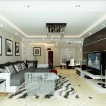 两室一厅现代客厅吊顶装修效果图大全2012图片3