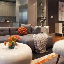 两室一厅冷色调客厅装修效果图大全2012图片2