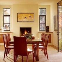 红色餐厅餐桌壁炉装修效果图4